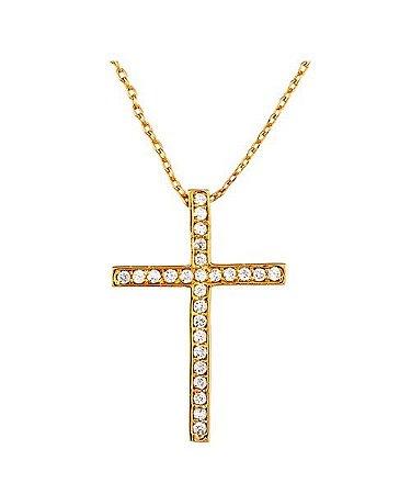 Colar Crucifixo em Cristais Banhado à Ouro
