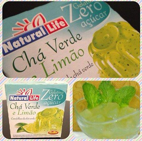 Gelatina Chá Verde e Limão Zero Açúcar.