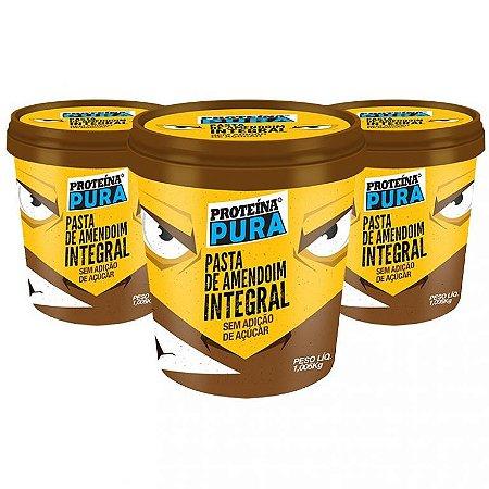 Kit 3 Pastas de amendoim integral sem açúcar Proteína Pura 1,005kg