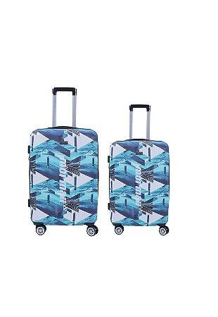 Kit com 2 Malas de Viagem Mormaii Estampada P e M 20 e 24 Polegadas - MOV191 - Azul