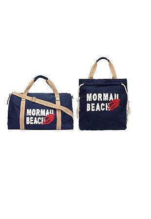 Kit com Bolsa Sacola Utilitária + Shopping Bag - Mormaii - Azul