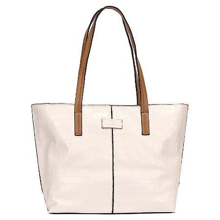Bolsa Shopping Bag Croco Com Detalhe Recorte - WJ