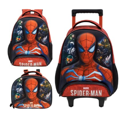 Kit Escolar Infantil com Mochila Costas, Lancheira e Mochila com Rodas S1 - Spider Man 3D