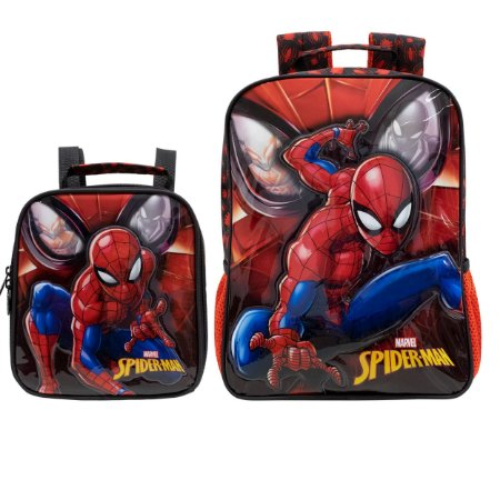 Kit Escolar Infantil com Mochila e Lancheira R2 - Spider Man