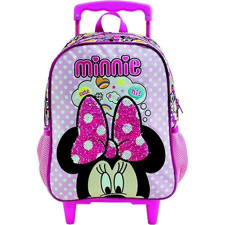 Mochila com Rodas infantil Escolar Magic Bow - Minnie Rosa