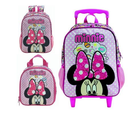 Mochila com Rodas, Lancheira e Mochila de Costas infantil Escolar Magic Bow - Minnie Rosa
