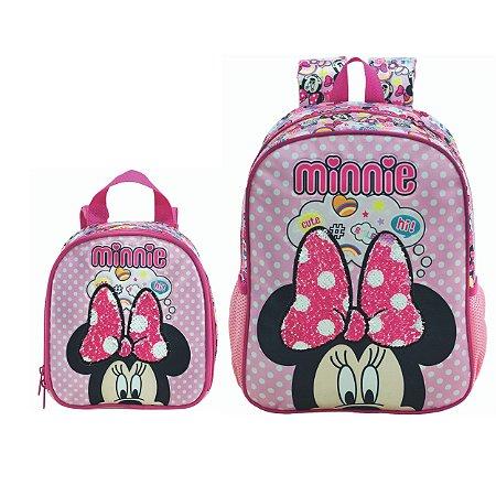 Mochila Costas e Lancheira infantil Escolar Magic Bow - Minnie Rosa