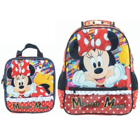 Mochila Costas e Lancheira infantil Escolar Magic Bow - Minnie Vermelha
