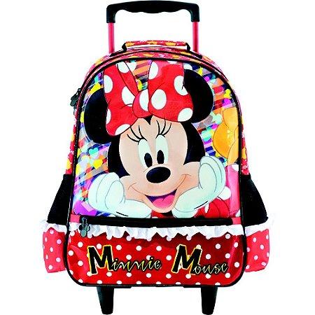 Mochila com Rodas infantil Escolar Magic Bow - Minnie Vermelha