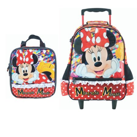 Mochila com Rodas e Lancheira infantil Escolar Magic Bow - Minnie Vermelha