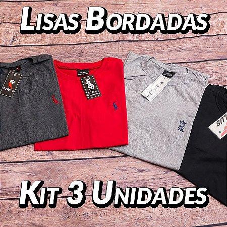 Kit 3 UN - Camiseta Gola Redonda Lisa - Roupas no Atacado