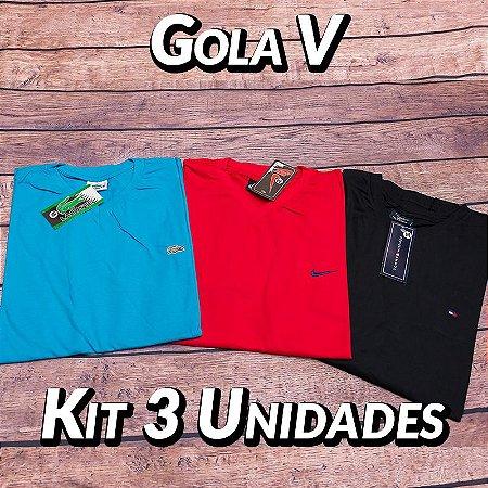 Kit 3 UN - Camiseta Gola V Lisa