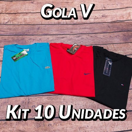 Kit 10 UN - Camiseta Gola V Lisa