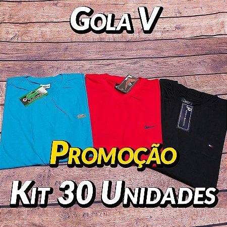 Kit 30 UN - Camiseta Gola V Lisa