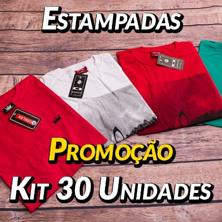 Kit 30 UN - Camiseta Estampadas Premium