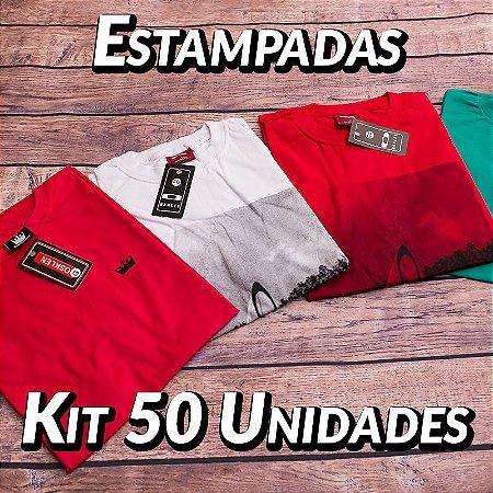 Kit 50 UN - Camiseta Estampadas Premium - Roupas no Atacado
