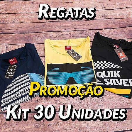 Kit 30 UN - Camiseta Regata Estampada - Roupas no Atacado