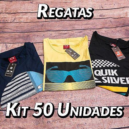 Kit 50 UN - Camiseta Regata Estampada - Roupas no Atacado