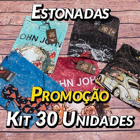 Kit 30 UN - Camiseta Estonadas ( Lavadas )