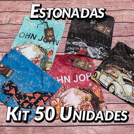 Kit 50 UN - Camiseta Estonadas ( Lavadas ) - Roupas no Atacado