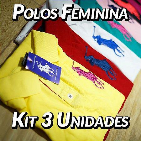 Kit 3 UN - Camiseta Polo Ralph Lauren Feminina