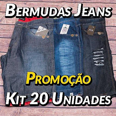 Kit 20 UN - Bermudas Jeans Masculinas - Roupas no Atacado