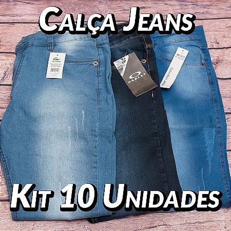 Kit 10 UN - Calças Jeans - Marcas Variadas - Roupas no Atacado