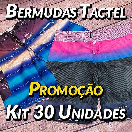 Kit 30 UN - Bermudas Tactel - Marcas Variadas - Roupas no Atacado