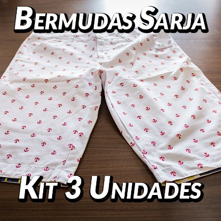 Kit 3 UN - Bermudas Sarja - Marcas Variadas