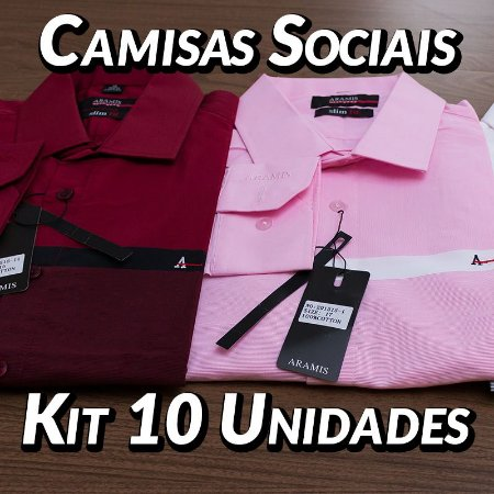 Kit 10 UN - Camisa Social Masculina - Marcas Variadas