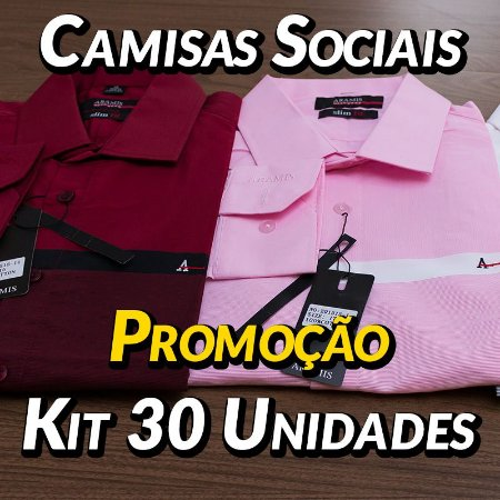 Kit 30 UN - Camisa Social Masculina - Marcas Variadas