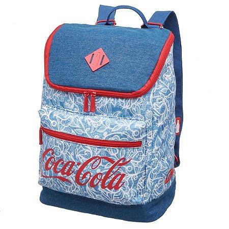 Mochila Escolar Costas Adulto Juvenil Coca-Cola Lace Azul