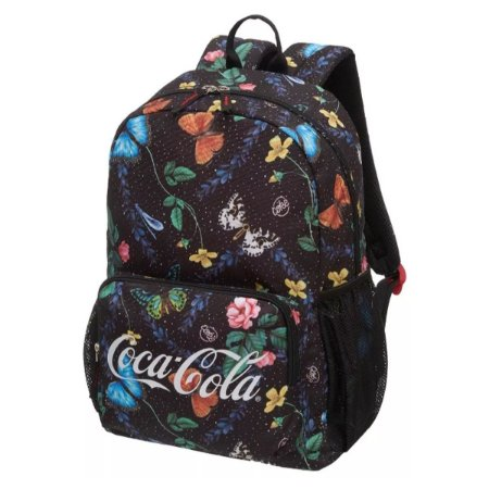 Mochila Feminina Adulto Juvenil Coca-Cola Wild Jungle Preta