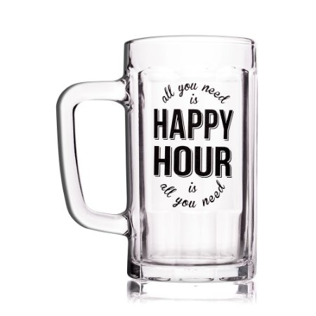 Caneco de Chopp com Mensagem Criativa Happy Hour 500ml