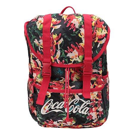 Mochila Escolar Feminina Juvenil Notebook Coca-Cola Liberty Floral