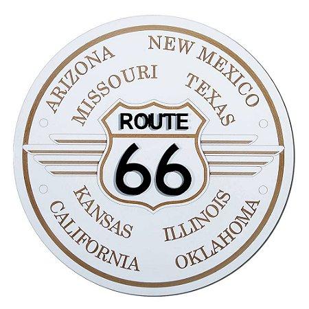 Placa Decorativa Alto Relevo Laqueada Route 66