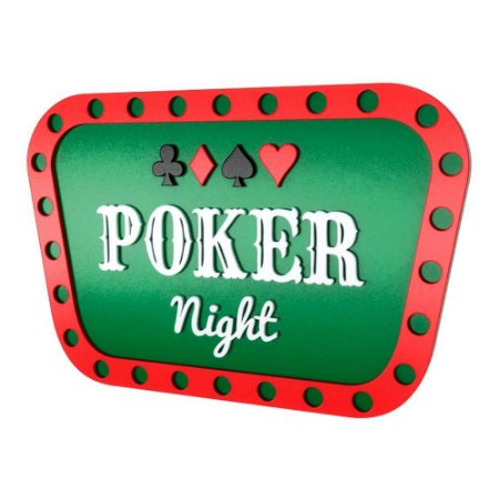 Placa Decorativa Alto Relevo Laqueada Poker Night