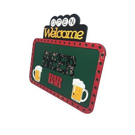 Placa Decorativa Alto Relevo Laqueada Beer Bar