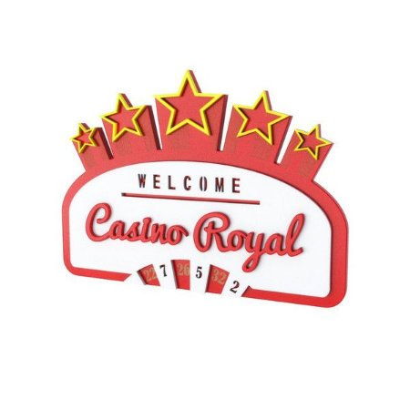 Placa Decorativa Alto Relevo Laqueada Casino Royal