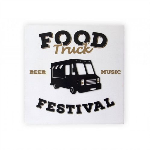 Placa Decorativa MDF Alto Relevo Food Truck
