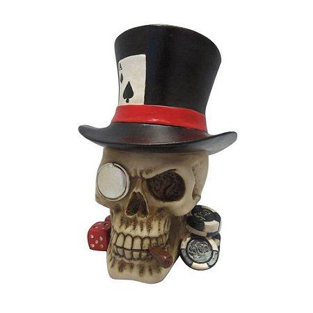 Caveira Decorativa de Resina Poker