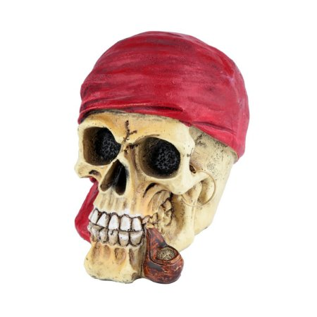 Mini Caveira Decorativa de Resina Red Scarf