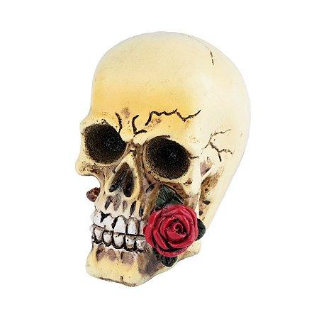 Mini Caveira Decorativa de Resina Red Rose