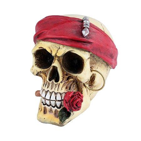 Caveira Decorativa de Resina Rose Red Scarf