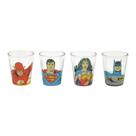 Conjunto 4 Copos Shot DC Comics Super Heróis Liga da Justiça 50ml