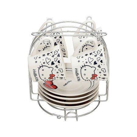 Jogo 4 Xícaras Porcelana Hello Kitty Tattoo 80ml
