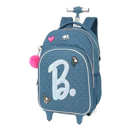 Mochila Feminina Rodinhas Notebook Barbie Patches Pompom