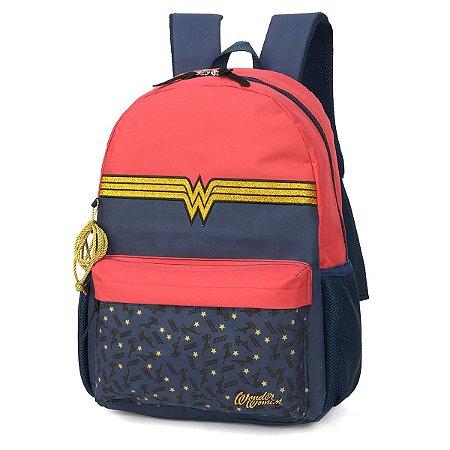 Mochila Feminina Escolar Notebook Wonder Woman Azul