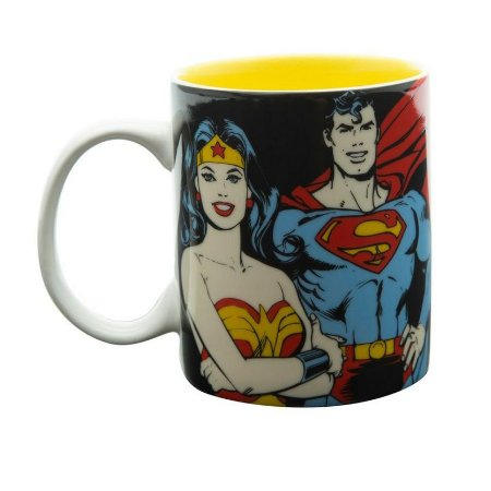 Caneca Geek Porcelana DC Comics Super Heroes 300ml