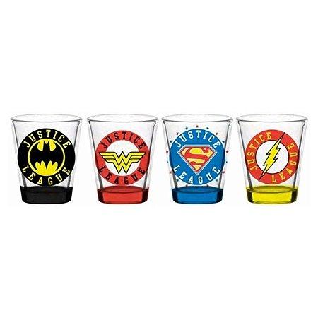 Conjunto com 4 Copos Shot DC Comics Liga da Justiça 50ml